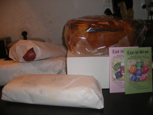 A bounty of three pounds of farmer's cheese, four large smoked kielbasa and two four pound cheese babka.